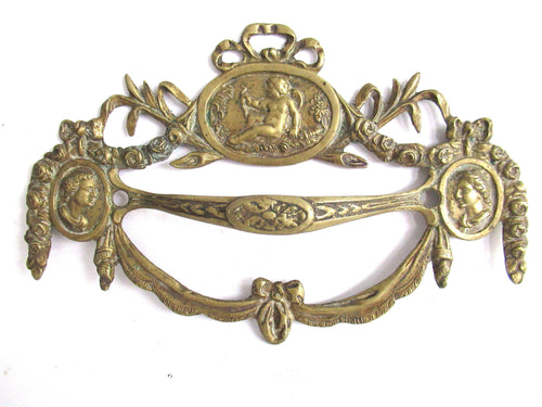UpperDutch:Drawer handle,Stunning Set of 2 Antique Brass Drawer Handles. Ornamental Furniture Appliques. Cherub, Putti embellishment. Restoration hardware