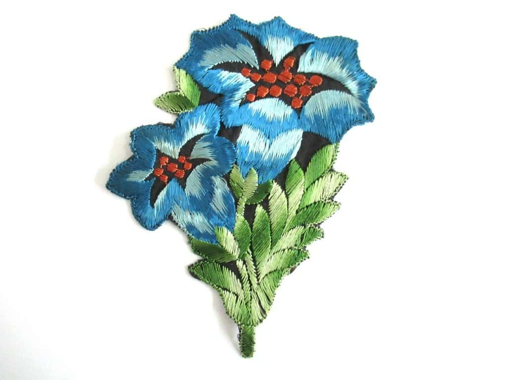 An Antique Blue Silk Flower Applique Vintage Floral Patch
