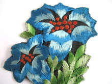 UpperDutch:,An Antique blue Silk Flower Applique, Vintage Floral Patch, Embroidery Sewing Supply.