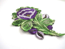 UpperDutch:,An Antique Purple Silk Flower Applique, Vintage Floral Patch, Embroidery Sewing Supply.