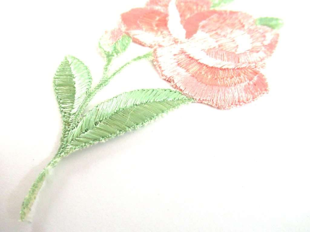 An Antique Silk Pink Flower Applique 1930s Embroidery Vintage Floral