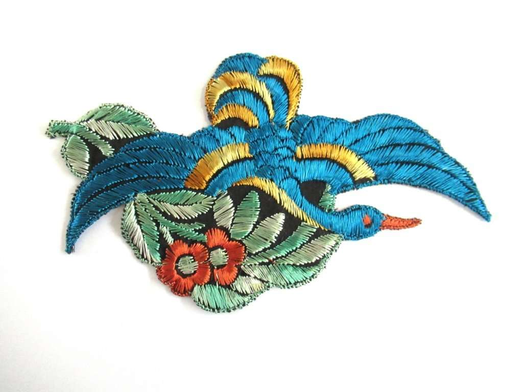 Antique 1930s silk blue bird applique vintage patch sewing supply