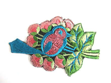 UpperDutch:,Antique 1930's Silk Blue Pink Bird Applique Vintage Patch Sewing Supply Crazy Quilt.