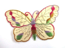 UpperDutch:,Antique 1930's Silk on Cotton Butterfly Applique Sewing Supply Embroidery Crazy Quilt Vintage Patch.