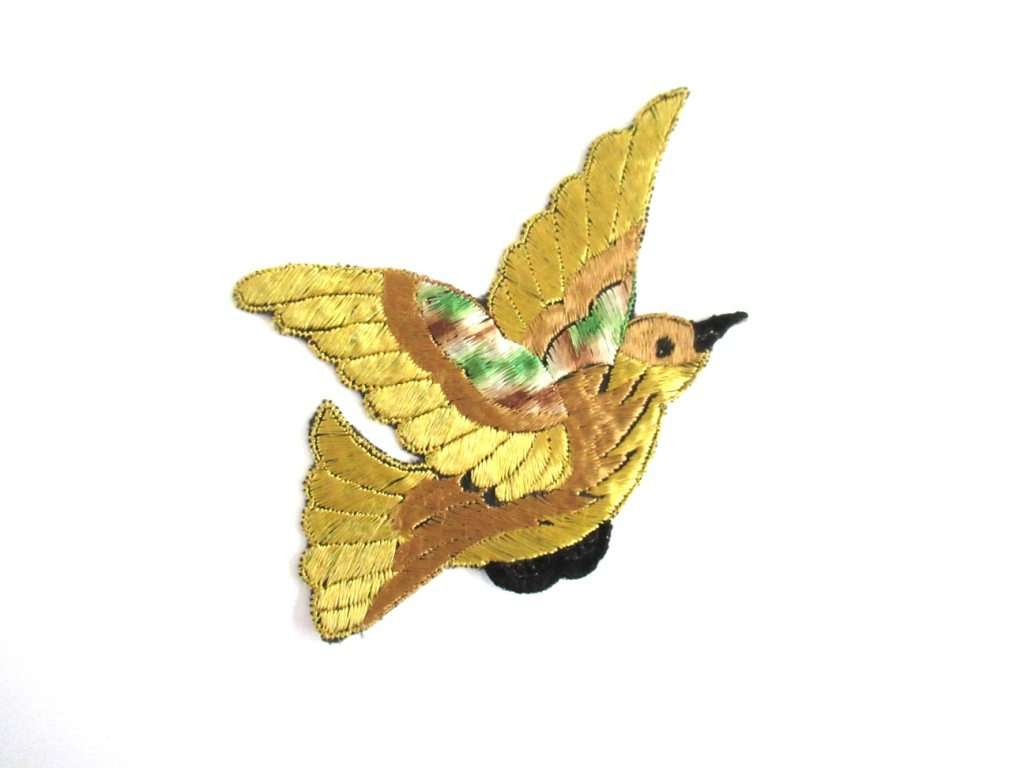 UpperDutch:Sewing Supplies,Antique Silk Bird Applique 1930s Vintage Patch Sewing supply.