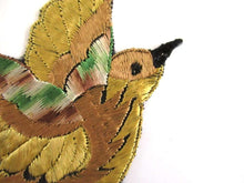 UpperDutch:,Antique Silk Bird Applique 1930s Vintage Patch Sewing supply.