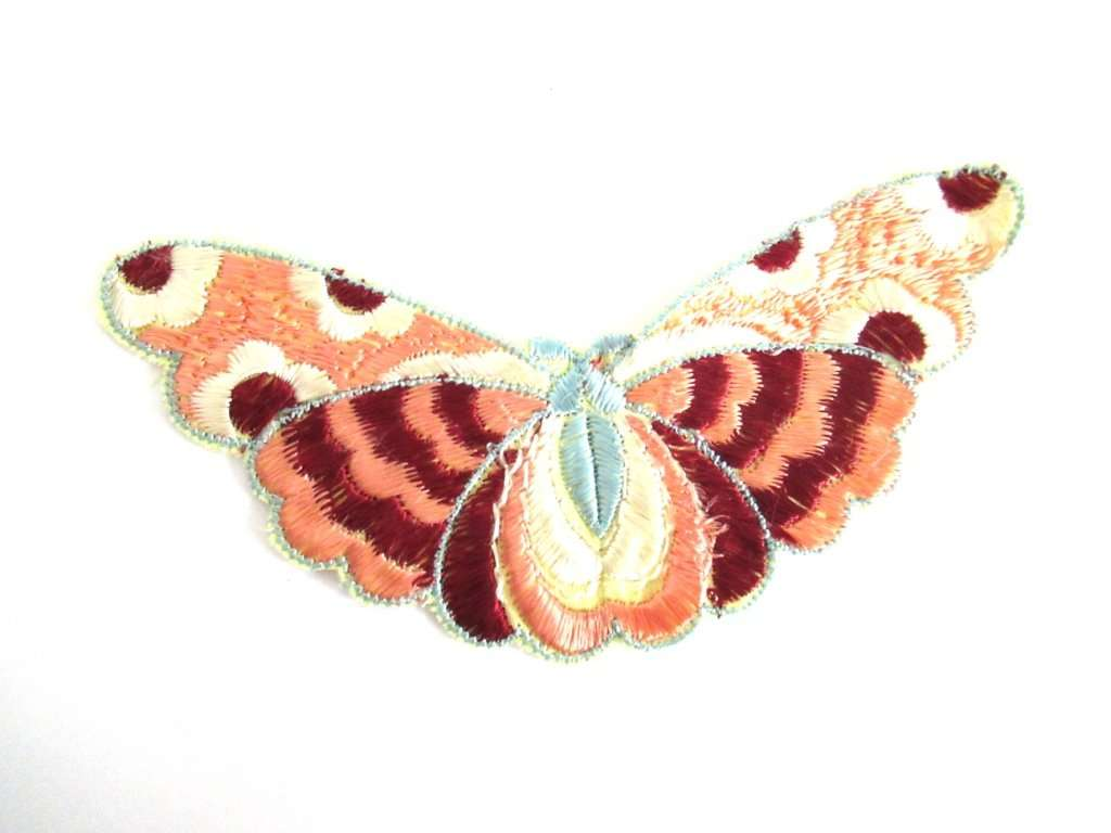 UpperDutch:,Antique Silk Butterfly Applique 1930s Embroidery Vintage Patch Sewing Supply Crazy quilt.