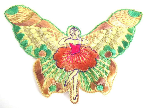 UpperDutch:Sewing Supplies,Antique Silk Fairy Applique 1930s Embroidery Vintage Butterfly Patch Sewing supply Crazy Quilt