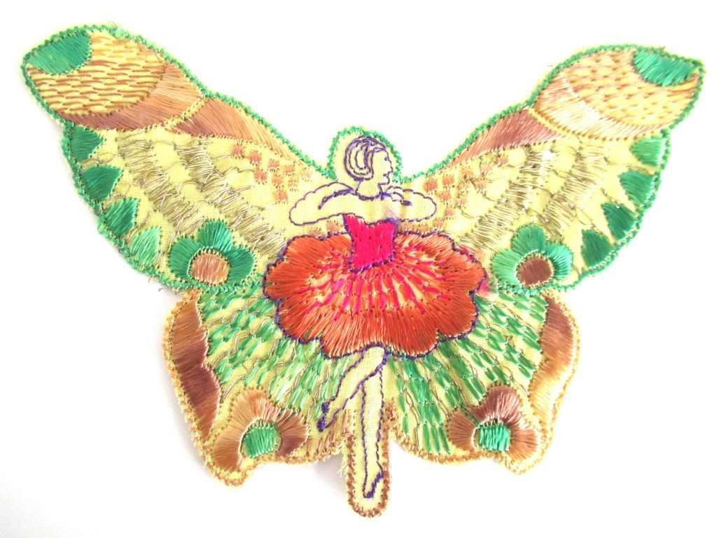 UpperDutch:Sewing Supplies,Antique Silk Fairy Applique 1930s Embroidery  Vintage Butterfly Patch Sewing supply