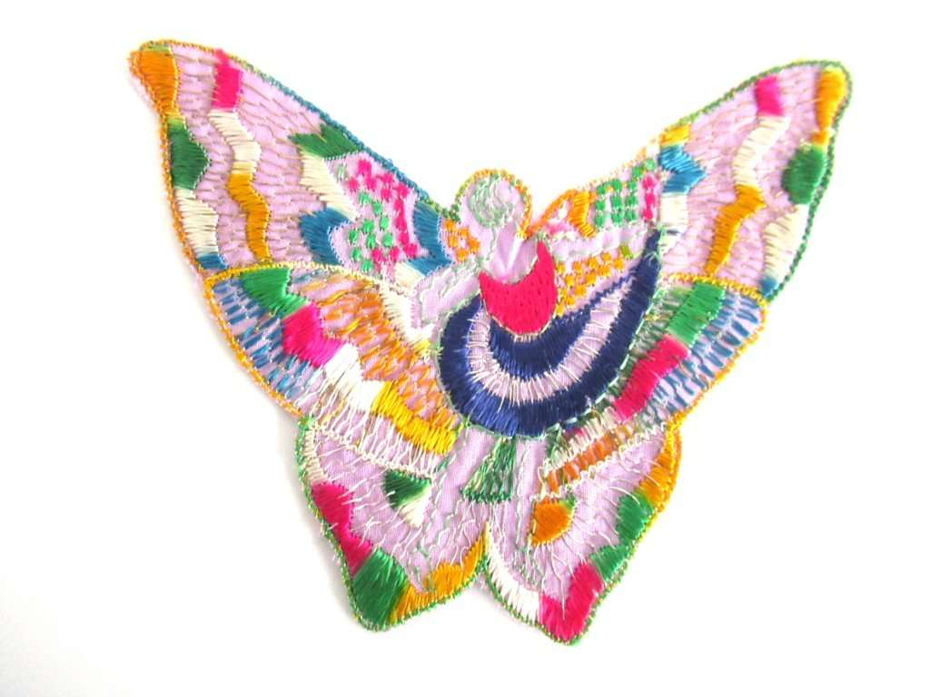 UpperDutch:,Antique Silk Fairy Applique 1930s Embroidery Vintage Butterfly Patch Sewing supply Crazy Quilt