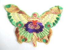 UpperDutch:,Antique Silk Fairy Applique 1930s Embroidery. Vintage Butterfly Patch Sewing supply Crazy Quilt
