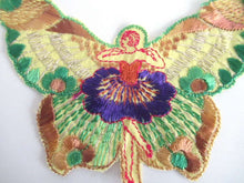 UpperDutch:Sewing Supplies,Antique Silk Fairy Applique 1930s Embroidery. Vintage Butterfly Patch Sewing supply Crazy Quilt