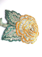 UpperDutch:,Antique Silk Flower Applique, 1930s Vintage floral patch Sewing supply.