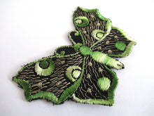 UpperDutch:Sewing Supplies,Butterfly applique, 1930s vintage embroidered applique. Vintage patch, sewing supply. Green Applique, Crazy quilt