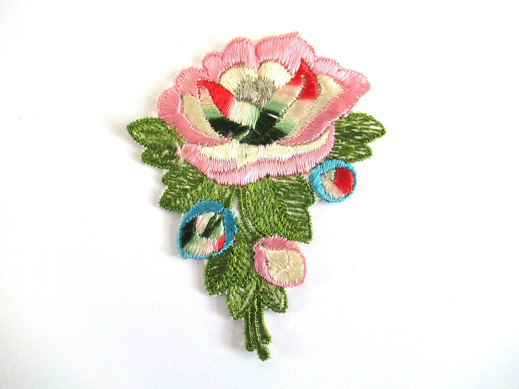 Flower applique 1930s vintage embroidered applique. vintage floral