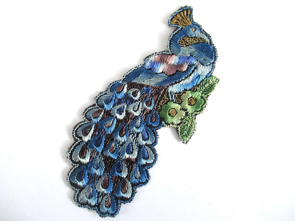 UpperDutch:,Peacock Applique 1930s Antique Embroidered Peacock applique, patch. Vintage bird patch, sewing supply.