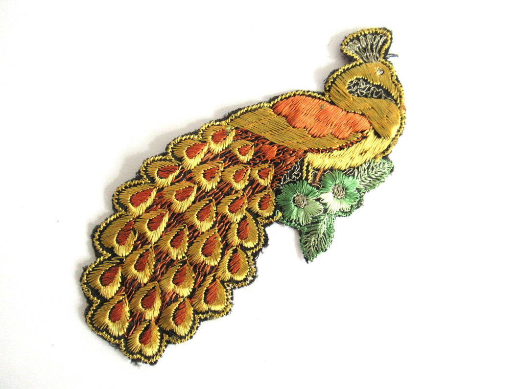 UpperDutch:Sewing Supplies,Peacock Applique 1930s Antique Embroidered Peacock applique, patch. Vintage bird patch, sewing supply.