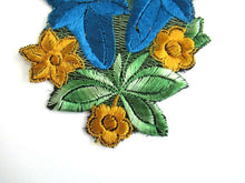 UpperDutch:,Trumpet Flower An Antique Silk on Cotton Flower Applique Vintage Floral Patch Sewing Supply