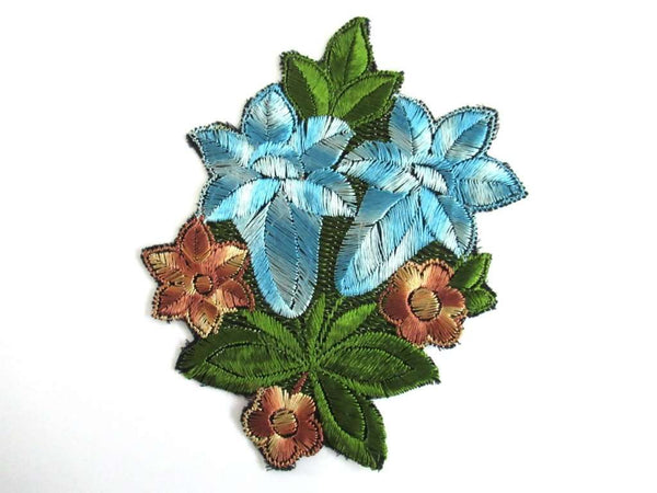 UpperDutch:Sewing Supplies,Trumpet Flower Antique Silk on Cotton Flower Applique Vintage Floral Patch Sewing Supply