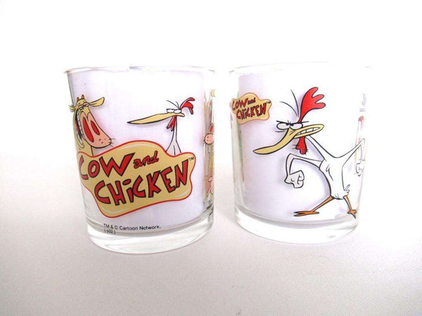 UpperDutch:,Cow and Chicken Set of 2 Ferrero Nutella Drinking Glasses.