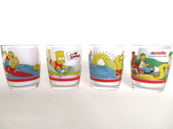 UpperDutch:,The Simpsons Set of 4 Ferrero Nutella Drinking Glasses, Bart, Lisa and Homer Simpson.