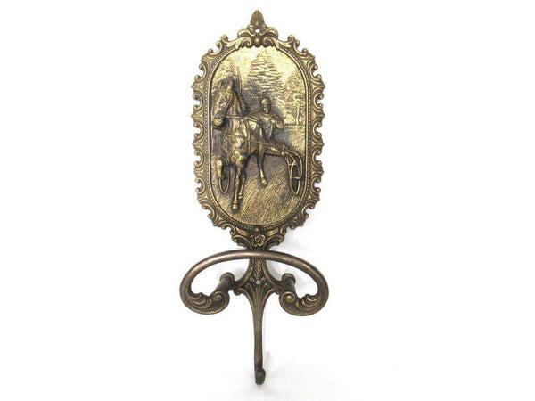 UpperDutch:Wall hook,Antique Solid Brass Coat Hook,  Horse - Equestrian - horse and carriage - Horse race.