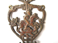 UpperDutch:,Antique Solid Brass Ornate Wall hook - Coat hook - Horse - Equestrian