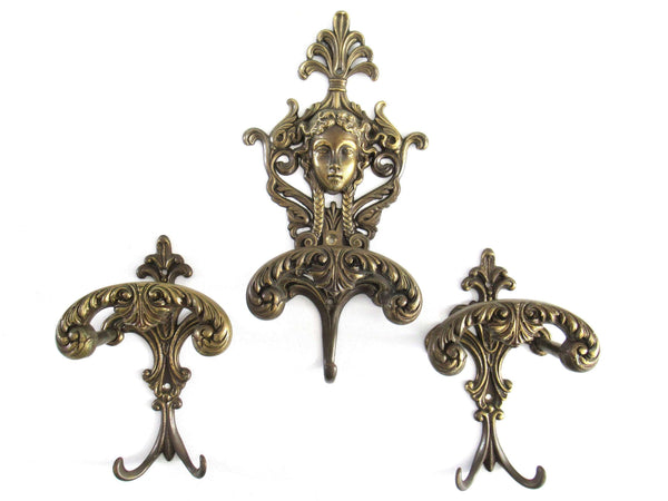 UpperDutch:Wall hook,Set Antique Victorian Style Coat hooks Made in Italy, Solid Brass Ornate Wall hooks, Angel, Woman.