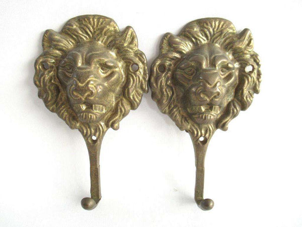UpperDutch:Wall hook,Set of 2 brass Lion Head Coat hooks.
