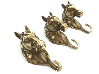 UpperDutch:Wall hook,Set of 3 pcs Solid Brass Horse Head Wall hooks, Coat hooks, Hanger, horse head.