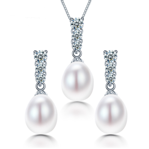 925 STERLING SILVER PEARL JEWELRY SET