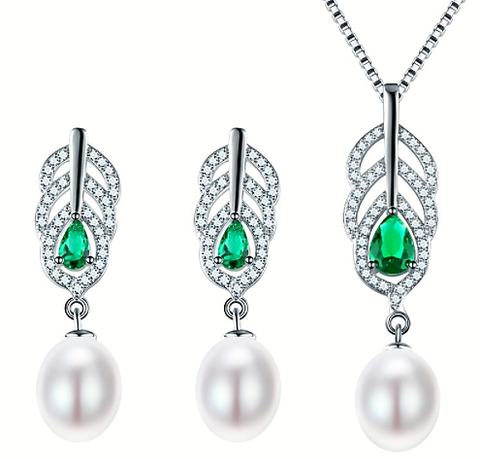 SILVER FRESH WATER PEARL JEWELRY SET