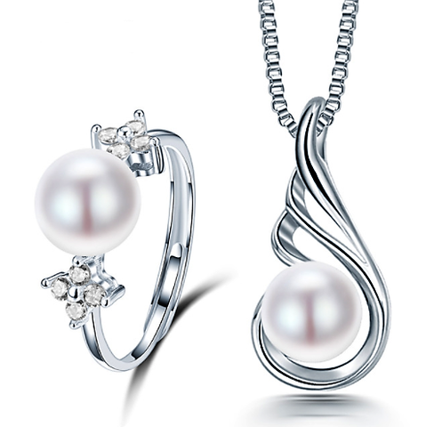 925 SILVER RING NECKLACE PEARL SET