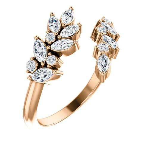 14K ROSE GOLD 1/2 CTW LEAF DIAMOND BYPASS RING