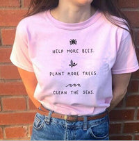 Help More Bees 90s Aesthetic Graphic T Shirts 100% Cotton  - KjSelections