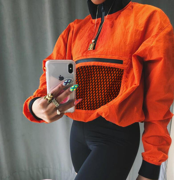 Women Orange Half Open Collar Long Sleeve Loose Crop Top Sweatshirt  - KjSelections