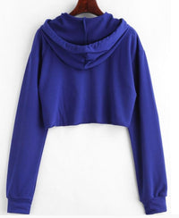 Purple Drawstring Letter Print Sweatshirt Women Crop Hoodies Autumn  - KjSelections