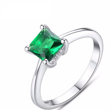 Emerald Zircon Stone Finger Ring 925 Sterling Silver Jewelry