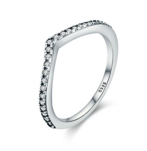 925 Sterling Silver Water Droplet Clear CZ Finger Rings  - KjSelections
