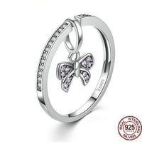 925 Sterling Silver Petals of Love Sweet Clover Blue CZ Finger Rings  - KjSelections