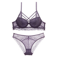 Underwear Set Sexy Bras Lace Embroidery Gather Women Lingerie Sets  - KjSelections