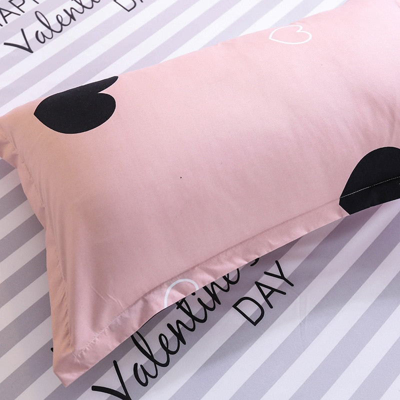 Black Hearts Print Pink Duvet Covers 3PCS King Queen Full Valentines/' Beddings
