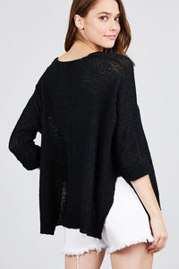3/4 Sleeve Side Slits Fish Net Sweater Top  - KjSelections