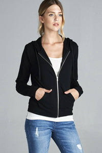 Long Sleeve Zipper French Terry Jacket W/ Kangaroo Pocket  - KjSelections