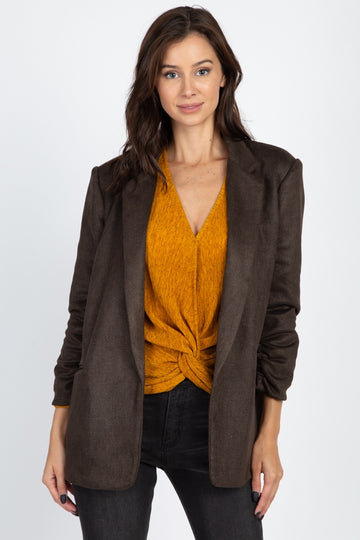 Mid Length Faux Suede Blazer