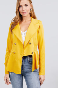 Long Sleeve Notched Lapel Collar Double Breasted Ruffle Hem Jacket  - KjSelections