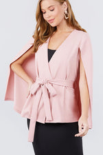 Open Peaked Front W/belt Detail Cape Jacket  - KjSelections