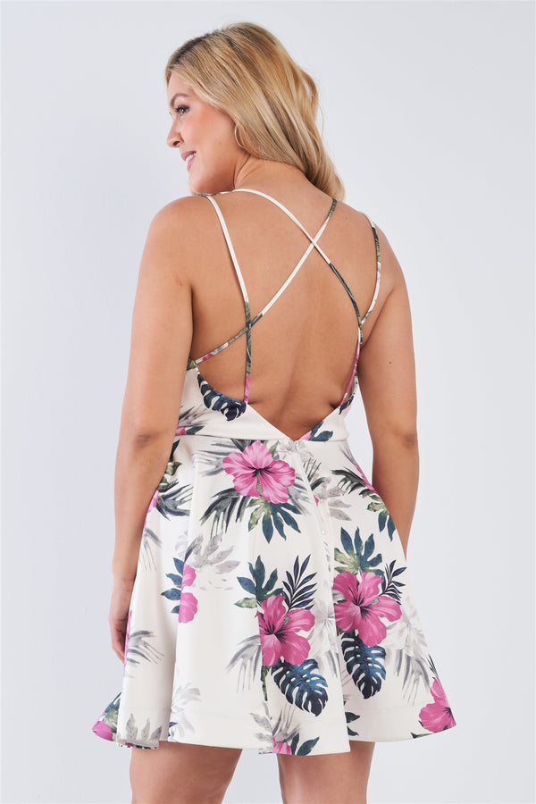 Plus Size Tropical Print Square Neckline Strappy Open Back Flare Mini Dress  - KjSelections