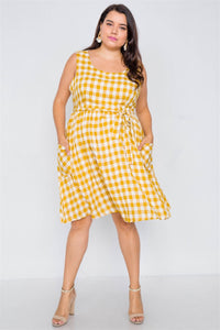 Plus Size Scoop Neck Side Pockets Checkered Gingham Midi Dres  - KjSelections