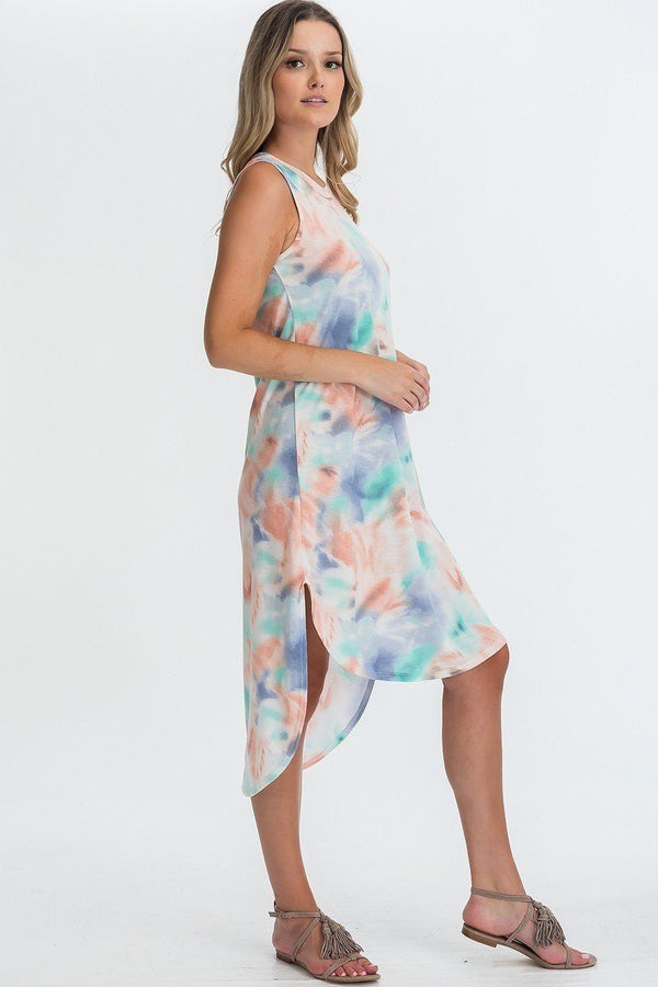 Tie Dye Hi-low Midi Dress  - KjSelections